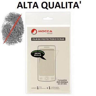 PELLICOLA PROTEGGI DISPLAY ANTI IMPRONTA per SAMSUNG G800 GALAXY S5 MINI ALTA QUALITA' MOCCA BLISTER