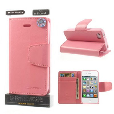 CUSTODIA FLIP ORIZZONTALE PELLE per APPLE IPHONE 4, IPHONE 4s CON INTERNO IN TPU E STAND COLORE ROSA SONATA BLISTER