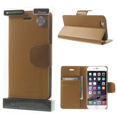 CUSTODIA FLIP ORIZZONTALE PELLE per APPLE IPHONE 6, IPHONE 6S 4.7' POLLICI CON INTERNO IN TPU E STAND CARAMELLO ALTA QUALITA' SO