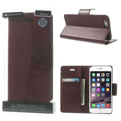 CUSTODIA FLIP ORIZZONTALE PELLE per APPLE IPHONE 6, IPHONE 6S 4.7' POLLICI CON INTERNO IN TPU E STAND BORDEAUX ALTA QUALITA' SON