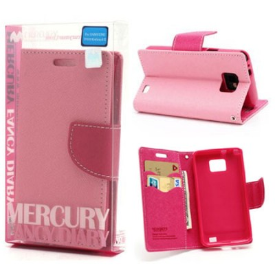 CUSTODIA FLIP ORIZZONTALE per SAMSUNG I9100 GALAXY S2, I9105 CON INTERNO IN TPU E STAND COLORE ROSA FANCY DIARY BLISTER MERCURY