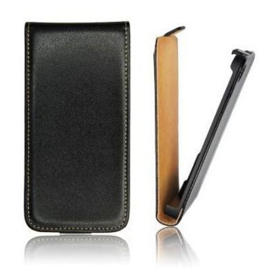 CUSTODIA VERTICALE SLIM FLIP PELLE per HTC DESIRE 620, DESIRE 820 MINI COLORE NERO