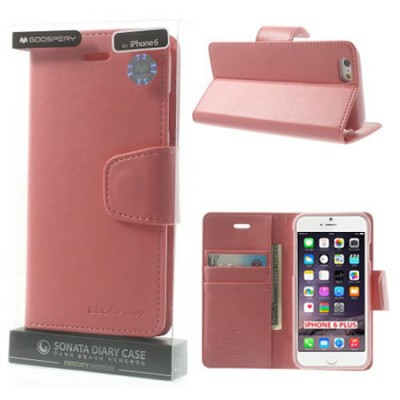 CUSTODIA FLIP ORIZZONTALE PELLE per APPLE IPHONE 6 PLUS, 6S PLUS 5.5' CON INTERNO IN TPU E STAND COLORE ROSA ALTA QUALITA' SONAT
