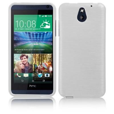 CUSTODIA GEL TPU SILICONE per HTC DESIRE 610 COLORE BIANCO EFFETTO METALLICO
