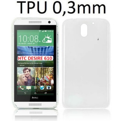 CUSTODIA GEL TPU SILICONE ULTRA SLIM 0,3mm per HTC DESIRE 610 COLORE BIANCO TRASPARENTE