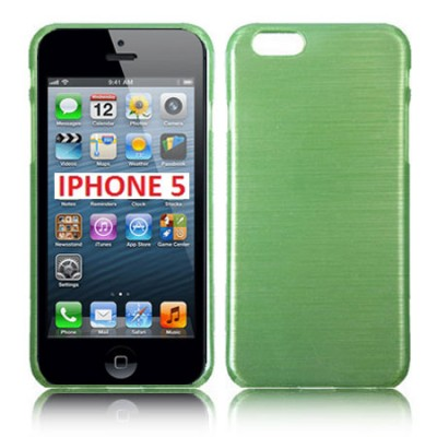 CUSTODIA TPU SILICONE per APPLE IPHONE 5, 5s COLORE VERDE EFFETTO METALLICO