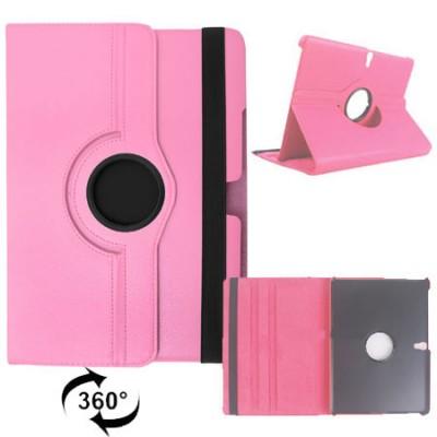 CUSTODIA BOOK PELLE GIREVOLE per SAMSUNG GALAXY SM-T805 TAB S 10.5, SM-T800, SM-T801 10.5' POLLICI CON STAND COLORE ROSA