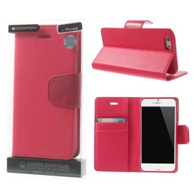 CUSTODIA FLIP ORIZZONTALE PELLE per APPLE IPHONE 6 PLUS, 6S PLUS 5.5' CON INTERNO IN TPU E STAND COLORE FUCSIA ALTA QUALITA' SON