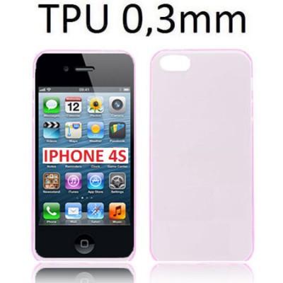 CUSTODIA GEL TPU SILICONE ULTRA SLIM 0,3mm per APPLE IPHONE 4, IPHONE 4s COLORE ROSA TRASPARENTE