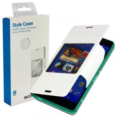 CUSTODIA FLIP ORIZZONTALE SMART WINDOW ORIGINALE per SONY XPERIA Z3 COMPACT CON FINESTRA ID E TECNOLOGIA NFC BIANCO BLISTER
