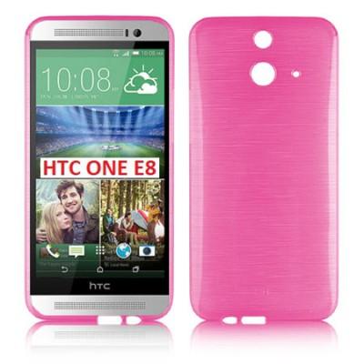 CUSTODIA GEL TPU SILICONE per HTC ONE E8 COLORE ROSA EFFETTO METALLICO