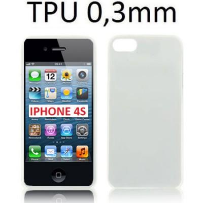 CUSTODIA GEL TPU SILICONE ULTRA SLIM 0,3mm per APPLE IPHONE 4, IPHONE 4s COLORE BIANCO TRASPARENTE