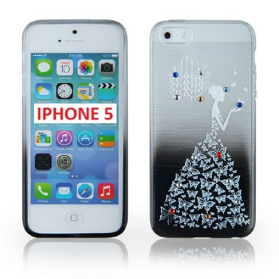 CUSTODIA TPU SILICONE per APPLE IPHONE 5, 5 S FANTASIA PRINCIPESSA CON STRASS SU SFUMATURA COLORE NERO