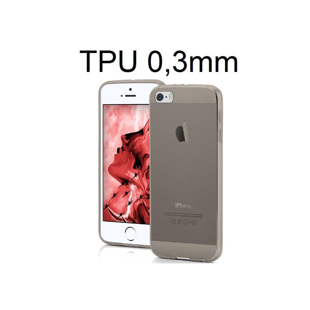 CUSTODIA per APPLE IPHONE SE, IPHONE 5S, IPHONE 5 IN GEL TPU SILICONE ULTRA SLIM 0,3mm COLORE NERO TRASPARENTE