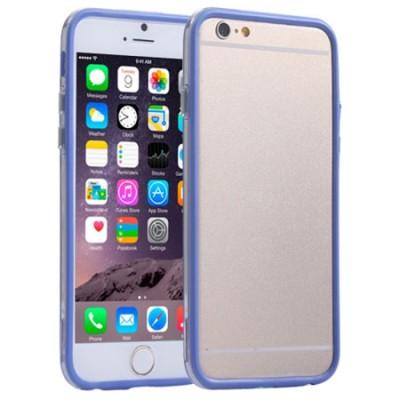 CUSTODIA GEL TPU SILICONE BUMPER per APPLE IPHONE 6 PLUS, IPHONE 6S PLUS 5.5' POLLICI COLORE BLU-TRASPARENTE-BLU