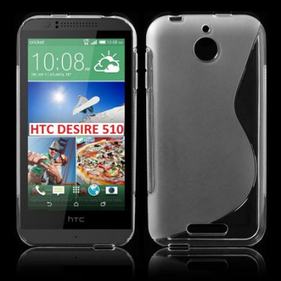 CUSTODIA GEL TPU SILICONE DOUBLE per HTC DESIRE 510 COLORE BIANCO TRASPARENTE
