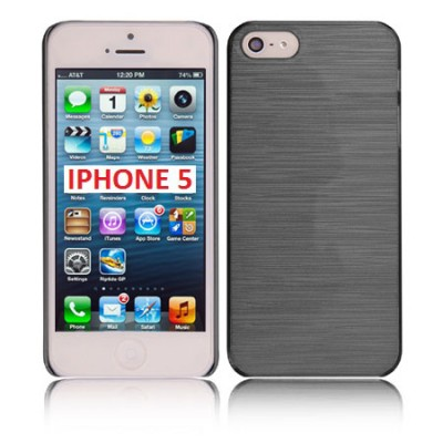 CUSTODIA BACK RIGIDA per APPLE IPHONE 5, 5s COLORE NERO EFFETTO METALLICO
