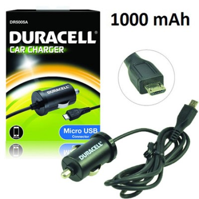 CAVO AUTO per ACER BETOUCH E130, BE TOUCH E140 ATTACCO MICRO USB 1000 mAh COLORE NERO DR5005A DURACELL BLISTER