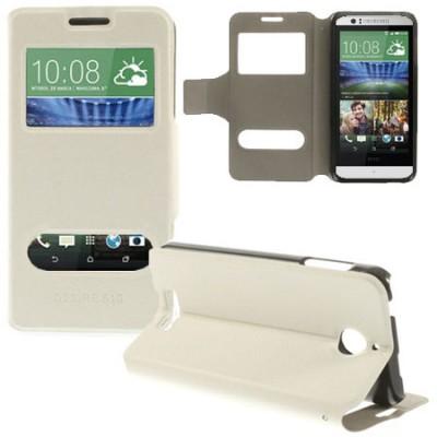 CUSTODIA FLIP ORIZZONTALE PELLE per HTC DESIRE 510 CON DOPPIA FINESTRA ID, STAND E CHIUSURA MAGNETICA COLORE BIANCO