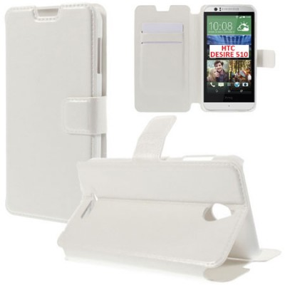 CUSTODIA FLIP ORIZZONTALE PELLE per HTC DESIRE 510 CON STAND E TASCHE PORTA CARTE COLORE BIANCO