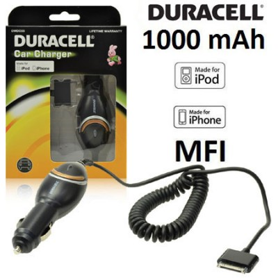 CAVO AUTO 1000 mAh per APPLE IPHONE 4, IPHONE 4s CERTIFICATO MFI (MADE FOR IPHONE) CAVO A SPIRALE NERO DMDC03 DURACELL BLISTER
