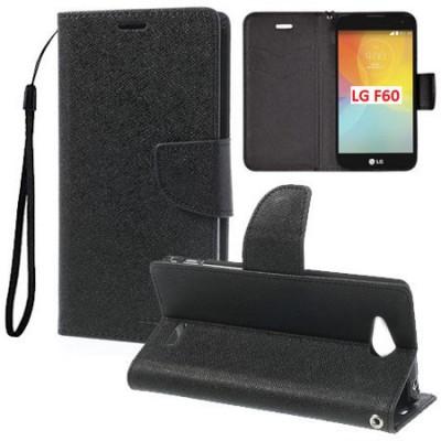 CUSTODIA FLIP ORIZZONTALE per LG F60 D390N, F60 D392 DUAL SIM CON INTERNO IN TPU, STAND, PORTA CARTE E LACCIO DA POLSO COLORE NE