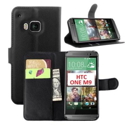 CUSTODIA per HTC ONE M9, ONE M9 PRIME CAMERA - FLIP ORIZZONTALE SIMILPELLE CON STAND E TASCHE PORTA CARTE COLORE NERO