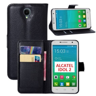 CUSTODIA FLIP ORIZZONTALE SIMILPELLE per ALCATEL ONE TOUCH 6037 IDOL 2 CON STAND E TASCHE PORTA CARTE COLORE NERO