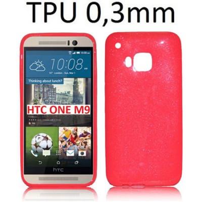 CUSTODIA per HTC ONE M9, ONE M9 PRIME CAMERA IN GEL TPU SILICONE ULTRA SLIM 0,3mm COLORE FUCSIA LUCIDO CON GLITTER