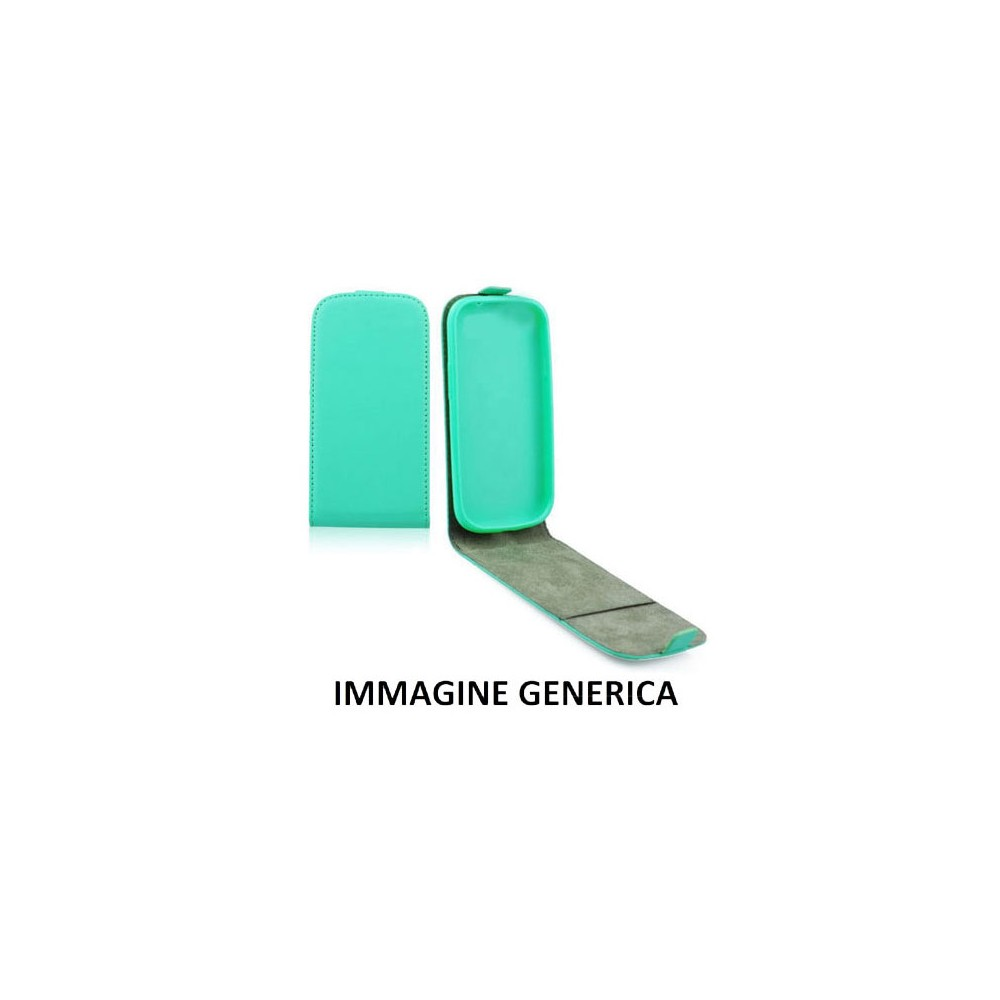 CUSTODIA FLIP VERTICALE SLIM SIMILPELLE per SAMSUNG SM-G920 GALAXY S6 CON INTERNO IN TPU SILICONE COLORE VERDE ACQUA