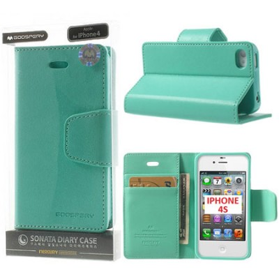 CUSTODIA FLIP ORIZZONTALE PELLE per APPLE IPHONE 4, IPHONE 4s CON INTERNO IN TPU E STAND COLORE VERDE ACQUA SONATA BLISTER