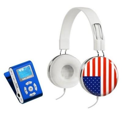 SET LETTORE MP3 BLU + CUFFIE BANDIERA USA CON SCHEDA DI MEMORIA MICRO SD DA 8GB INCLUSA COLORE BIANCO SDB 8341CF BLISTER