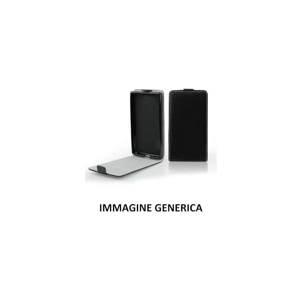 CUSTODIA FLIP VERTICALE SLIM SIMILPELLE per LG JOY H220 CON INTERNO IN TPU SILICONE COLORE NERO