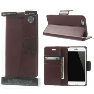 CUSTODIA FLIP ORIZZONTALE PELLE per APPLE IPHONE 6 PLUS, 6S PLUS 5.5' CON INTERNO IN TPU E STAND BORDEAUX ALTA QUALITA' SONATA