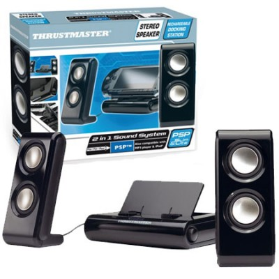 DOCKING STATION CON 2 ALTOPARLANTI SATELLITI STEREO PER SONY PSP 1000, PSP 2000, PSP SLIM & LITE COLORE NERO THRUSTMASTER BLISTE