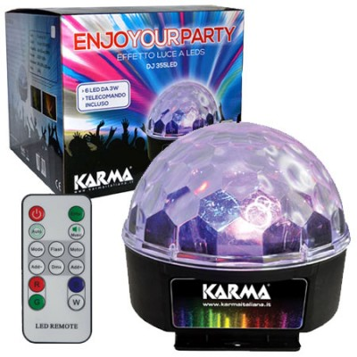 SEMISFERA LUMINOSA CON 6 LED DA 3W E TELECOMANDO PER CONTROLLO A DISTANZA COLORE NERO DJ-355LED KARMA BLISTER