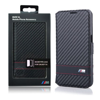 CUSTODIA FLIP ORIZZONTALE VERA PELLE BMW BMFLBKS6MCC per SAMSUNG SM-G920 GALAXY S6 CON PORTA CARTE COLORE NERO BLISTER