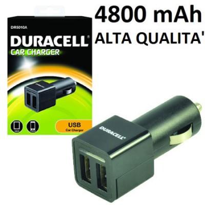CAVO AUTO CON DUE PORTE USB ( 2 x 2.4A  ) TOT. 4800 mAh COLORE NERO DR5010A DURACELL BLISTER (puo' caricare 2 tablet contemporan