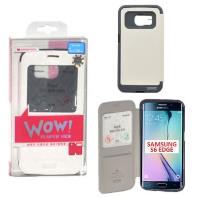 CUSTODIA FLIP ORIZZONTALE per SAMSUNG SM-G925 GALAXY S6 EDGE CON FINESTRA ID E INTERNO IN TPU COLORE BIANCO WOW! MERCURY