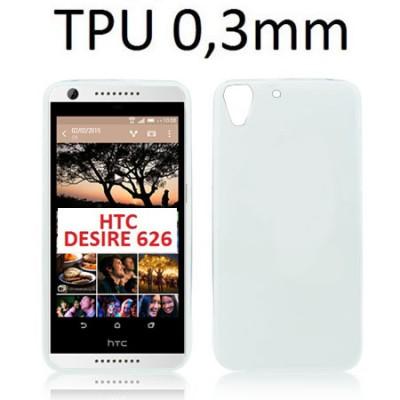CUSTODIA GEL TPU SILICONE ULTRA SLIM 0,3mm per HTC DESIRE 626, A32, D626W COLORE BIANCO TRASPARENTE