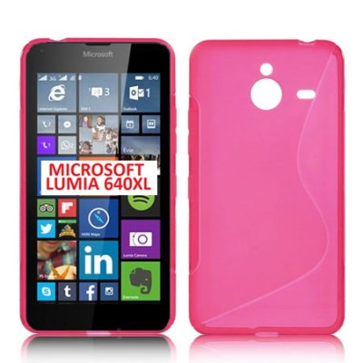 CUSTODIA GEL TPU SILICONE DOUBLE per MICROSOFT LUMIA 640 XL COLORE ROSA
