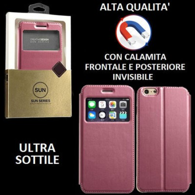 CUSTODIA FLIP ORIZZONTALE PELLE per APPLE IPHONE 6 PLUS, 6S PLUS 5.5' con CHIUSURA MAGNETICA INVISIBILE ED INTERNO IN TPU ROSA
