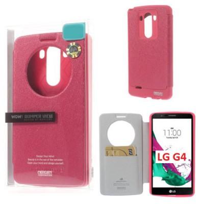 CUSTODIA FLIP ORIZZONTALE per LG G4, H815 CON FINESTRA ID E INTERNO IN TPU SILICONE COLORE FUCSIA WOW! MERCURY BLISTER
