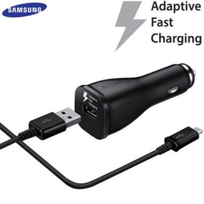 CARICATORE AUTO USB ORIGINALE SAMSUNG FAST CHARGING EP-LN915U + CAVO MICRO USB ECB-DU5 2000mAh per GALAXY S6 NERO BULK