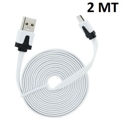 CAVO USB PIATTO per ACER ANDROID PHONE ATTACCO MICRO USB LUNGHEZZA 2 MT COLORE BIANCO SEGUE COMPATIBILITA'..