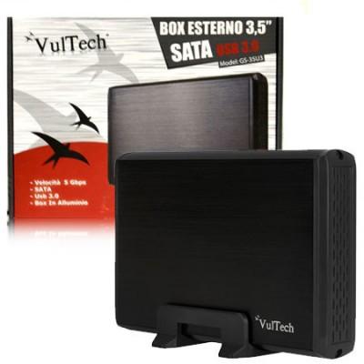 BOX ESTERNO 3.5' HDD SATA USB 3.0 PER HARD DISK CON CORPO IN ALLUMINIO COLORE NERO GS-35U3 VULTECH BLISTER