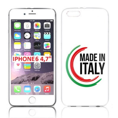 CUSTODIA GEL TPU SILICONE per APPLE IPHONE 6, IPHONE 6S 4.7' POLLICI CON BANDIERA ITALIANA E SCRITTA 'MADE IN ITALY' SU SFONDO B