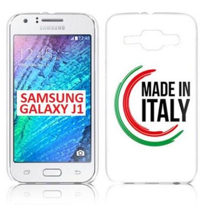 CUSTODIA GEL TPU SILICONE per SAMSUNG SM-J100H GALAXY J1 CON BANDIERA ITALIANA E SCRITTA 'MADE IN ITALY'