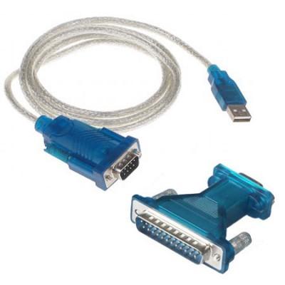 CAVO ADATTATORE DA USB 2.0 A RS232 SERIALE 9 PIN + ADATTATORE R232 SERIALE 25 PIN COLORE BLU E SILVER