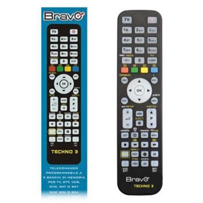 TELECOMANDO UNIVERSALE PROGRAMMABILE DA PC CON 3 BANCHI DI MEMORIA PER TV, DTT, VCR, DVD, SAT E SKY COLORE NERO TECHNO3 BRAVO